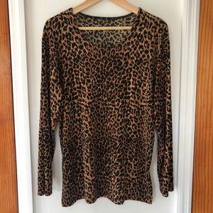 Vintage Leopard Print Drape Top Size M